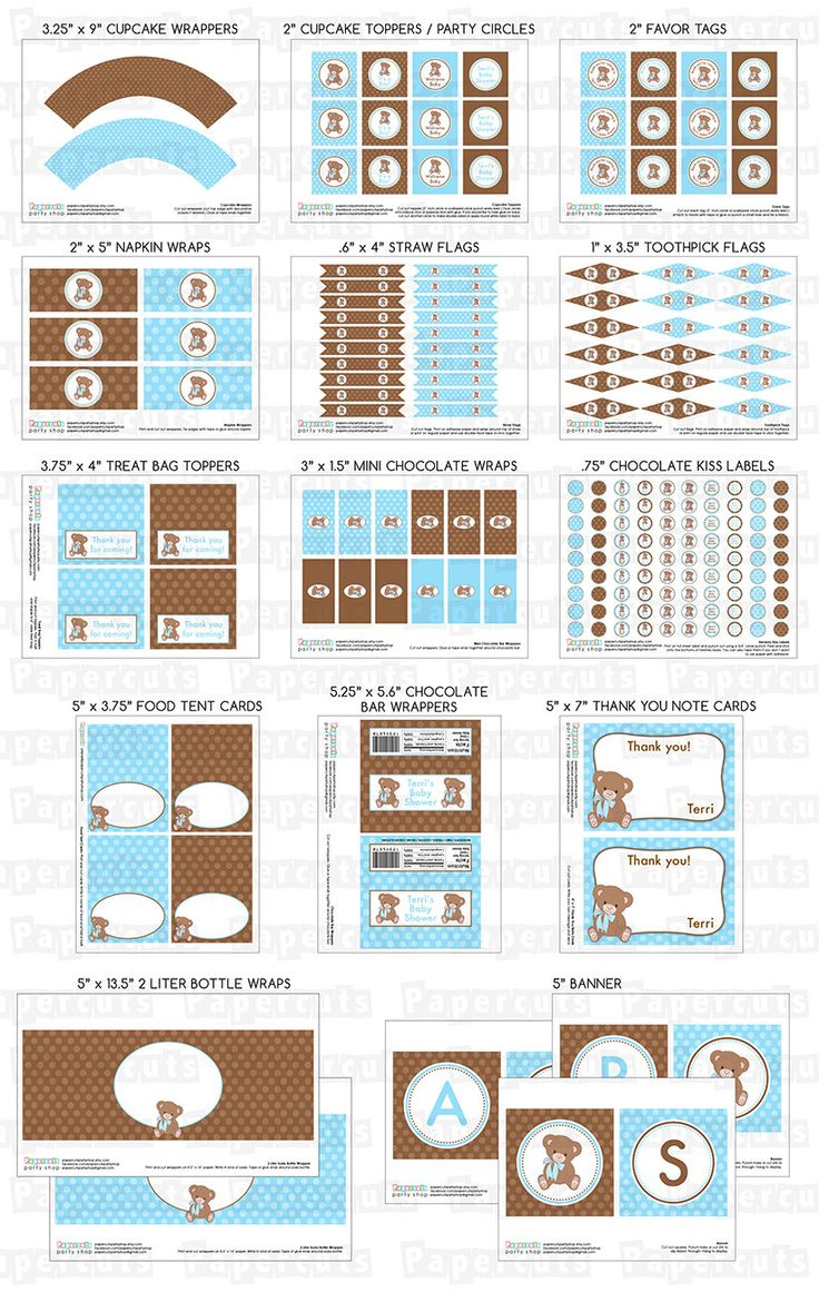 Teddy Bear Theme LARGE Baby Shower Party Package | Blue U0026 Brown | Itu0027s A  Boy | Personalized | Printable DIY Digital Files