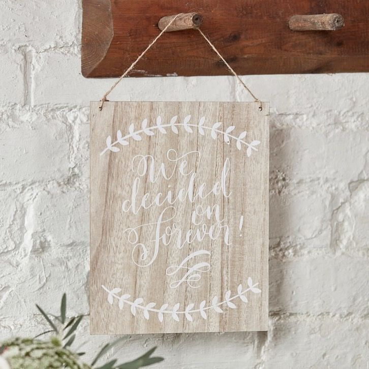 """We Decided on Forever"" 💛 Shop our wooden boho sign online now - www.whitelacepartyware.com.au Perfect for weddings and engagement parties!"
