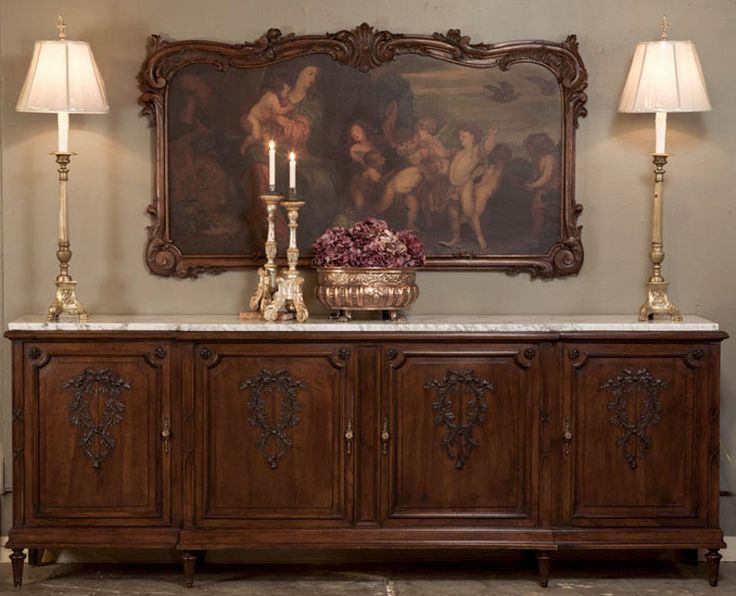 Antique French Louis XVI Walnut Grand Buffet | Antique Furniture | Inessa Stewart's Antiques