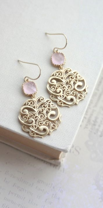 Gold Paisley Filigree Chandelier with Ice Pink Drops Earrings, Bridesmaid Gift, Blush Pink and Gold Wedding.
