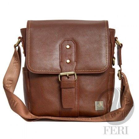 FERI  Victor Murse Brown.  Global Wealth Trade Corporation - FERI Designer Lines--- Deep Brown leather - Customized FERI Lining - Adjustable nylon shoulder strap with FERI embossed - Flap closure with snap - Front flat pocket with snap closure  - Interior zip pocket