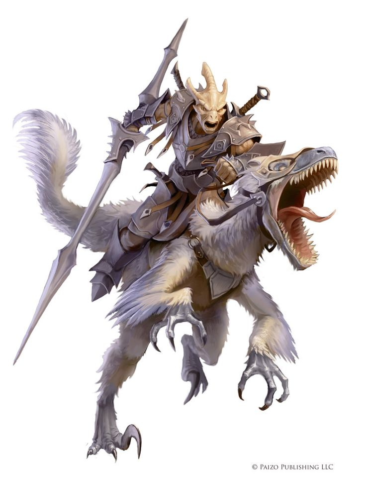 Mounted Dragonborn warrior on raptor