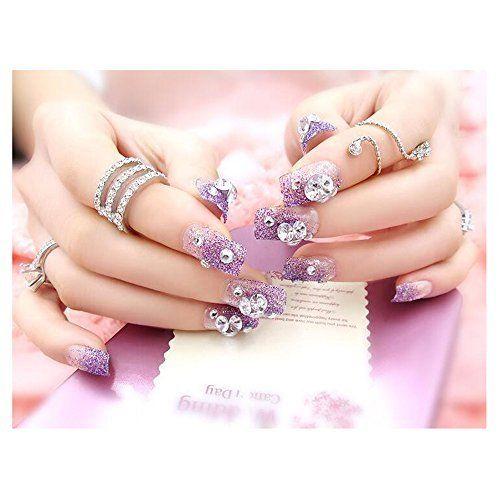 Dongcrystal 24Pcs 3D Bling Nail Art Jewelry Glitter Rhinestone Decor Purple  Nail Tips Fake Nails 0a45d9f026e6