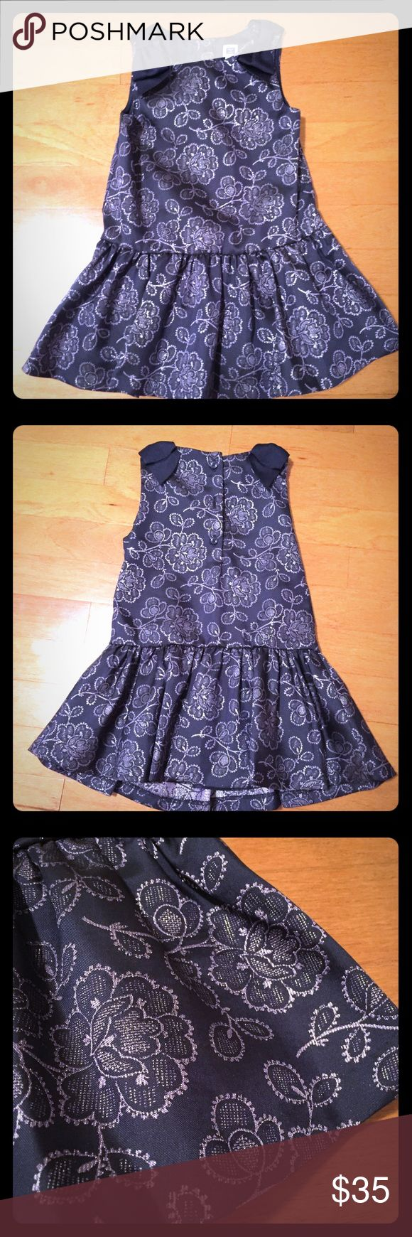Janie and Jack Special Occasion Dress Beautiful navy and silver special occasion dress by Janie and Jack. Worn once. Size 18-24 months. Janie and Jack Dresses Formal