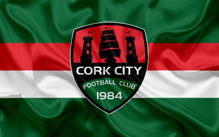 Download wallpapers Cork City FC, 4K, Irish Football Club, Cork City logo, emblem, League of Ireland, Premier Division, football, Cork, Ireland, silk flag, Irish Football Championship