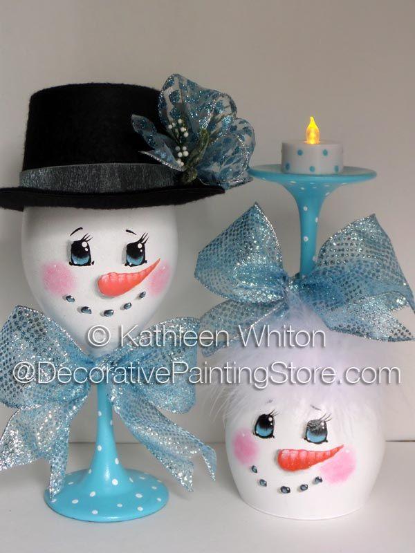 Snowman Wine Glasses Pattern - Kathleen Whiton - PDF DOWNLOAD