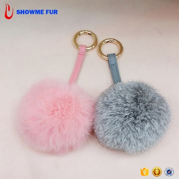 2017 Hot Keychain Rabbit Fur Pom Poms With Leather Belt