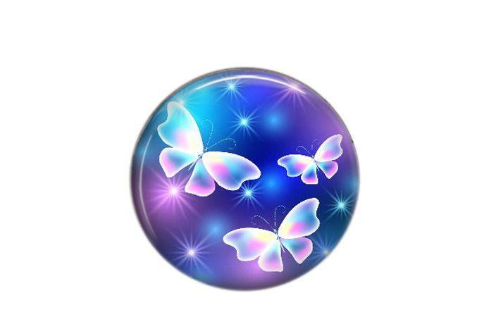 Cabochon rond résine 25mm Féerie Papillon 10 : Cabochons, demi-perles par bijouxdeperles