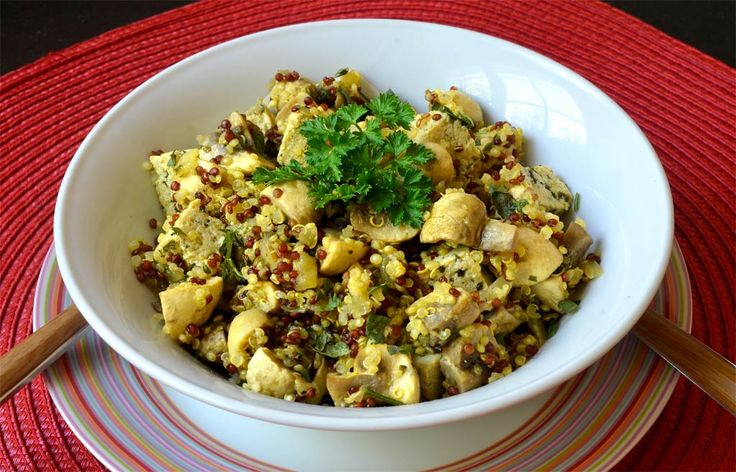 Sauté de champignons au quinoa. Un délicieux plat facile à emporter et à réchauffer