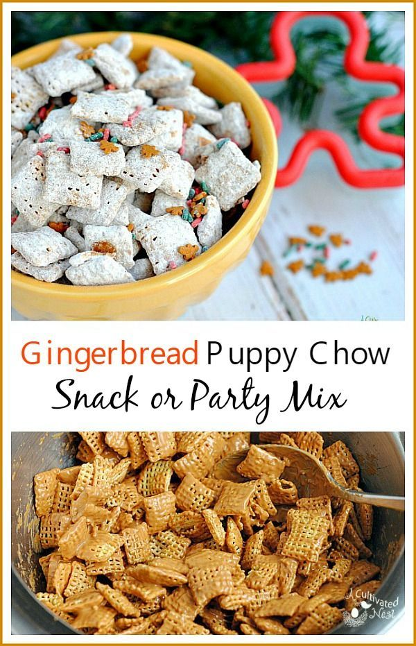 Gingerbread Puppy Chow Snack Mix | This recipe is perfect for Christmas since it's a gingerbread flavor! It only takes a few ingredients and you'll have the perfect party or snack mix that's delicious, quick and easy!