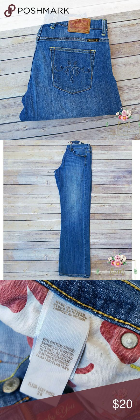 "LUCKY BRAND Fleur Easy Rider Jean Very comfortable and soft. Stretchy. Has been worn in good condition. Has embroidered design on back pocket. 99% Cotton  1% Spandex  Measurements  Band 32"" Inseam 31"" Lucky Brand Jeans Boot Cut"
