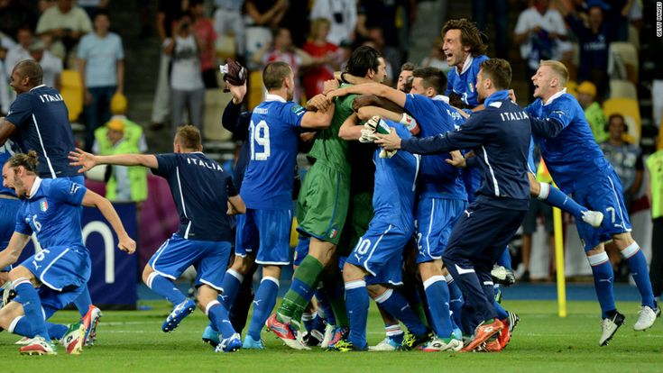 Italy's national team celebrates after winning the penalty shootout in the quarterfinal match against England on Sunday, June 24, in Kiev, Ukraine. Euro 2012, bringing together 16 of Europe's best national soccer teams, began June 8 in Poland and Ukraine. See the action as it unfolds here. CNN.com