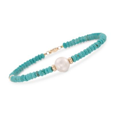 """9-10mm Cultured Pearl and Turquoise Bead Bracelet in 14kt Yellow Gold. 7.25"""" — Alt Image 1"""