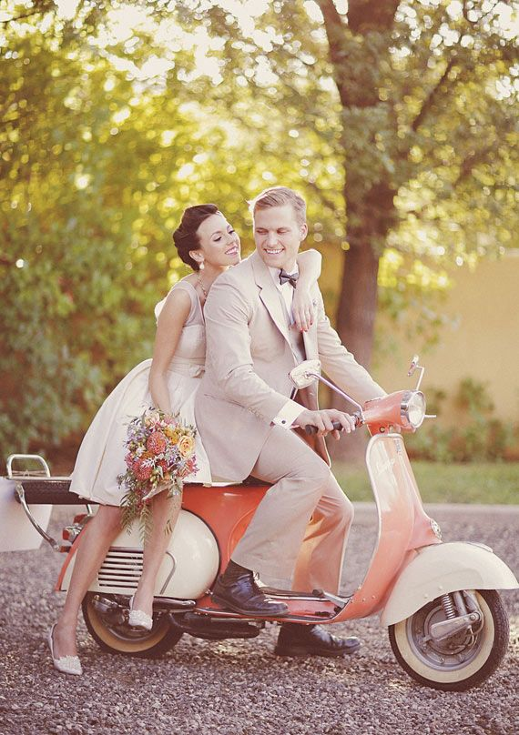 newlyweds in love......love the idea of a little scooter for wedding/engagement photos