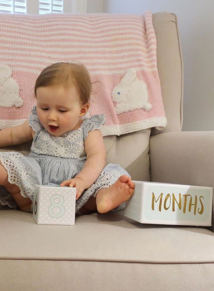 This Little One Looks Adorable And Thrilled To Be Celebrating 8 Months Never Miss Another Milestone With These Age Blocks From Baby Age Blocks Baby Aspen Baby
