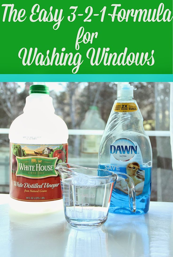 Easy 3-2-1 Formula for Washing Windows three-drops of blue Dawn, 2/3 cup of water, and 1/3 cup of white vinegar and I add 91% isopropyl alcohol (from Target)