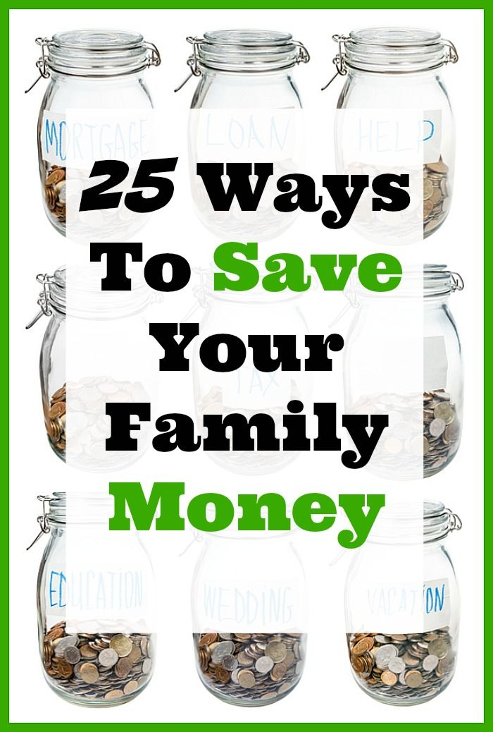 25 Ways To Save Your Family Money from some of the top frugal living websites around! Most of us are always looking for ways to save our family money. Money saving ideas, frugal living, paying off debt, saving money on groceries, lots of great tips for living frugally!