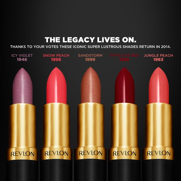 Revlon to bring back five vintage Super Lustrous Lipstick shades in Spring 2014.  |   Icy Violet from 1946, Snow Peach from 1956, Fifth Ave Red from 1958, Jungle Peach 1963 and Sandstorm from 1999.