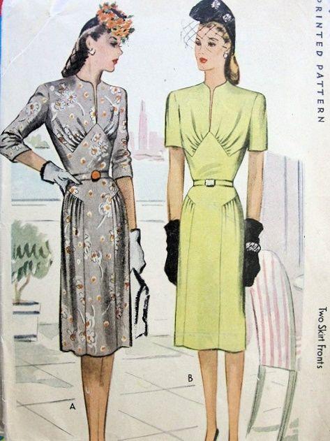 1940s CLASSY DRESS PATTERN SLIT NECKLINE, GATHERED BODICE, 2 SKIRT FRONTS MCCALL 6050