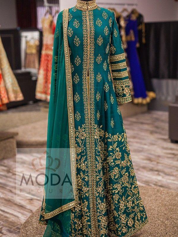 Dark teal green rich look raw silk floor length bridal jacket suit