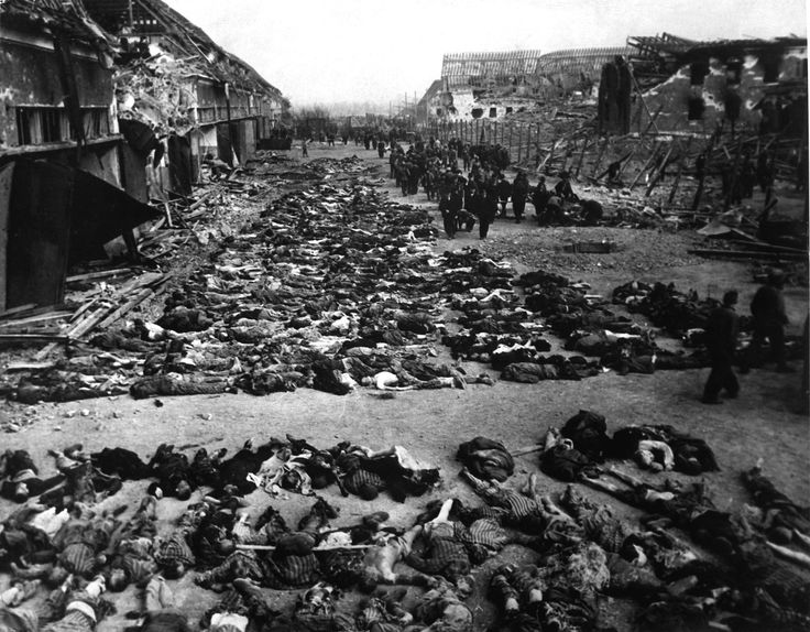 Rows of bodies of dead inmates fill the yard of Lager Nordhausen, a Gestapo-run concentration camp.