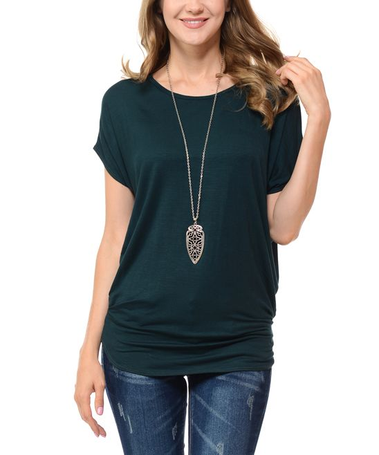 Hunter Green Cinch-Waist Dolman Top - Plus