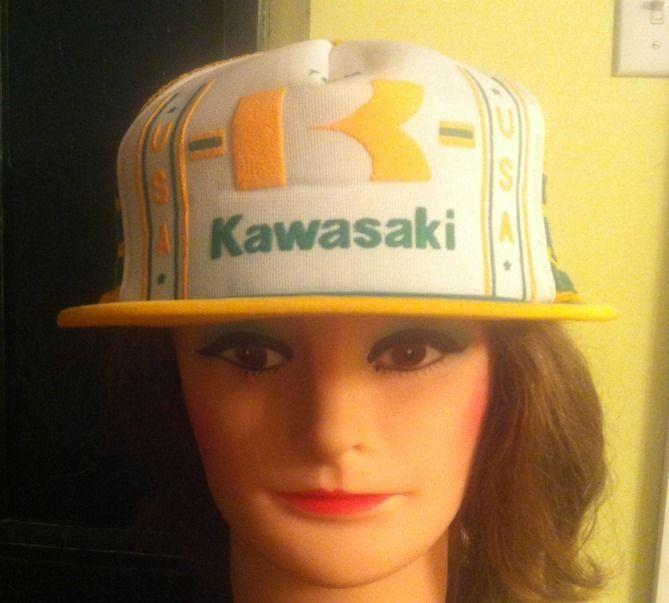 Vintage Team Kawasaki USA Snapback Trucker Style Hat Yellow Green White
