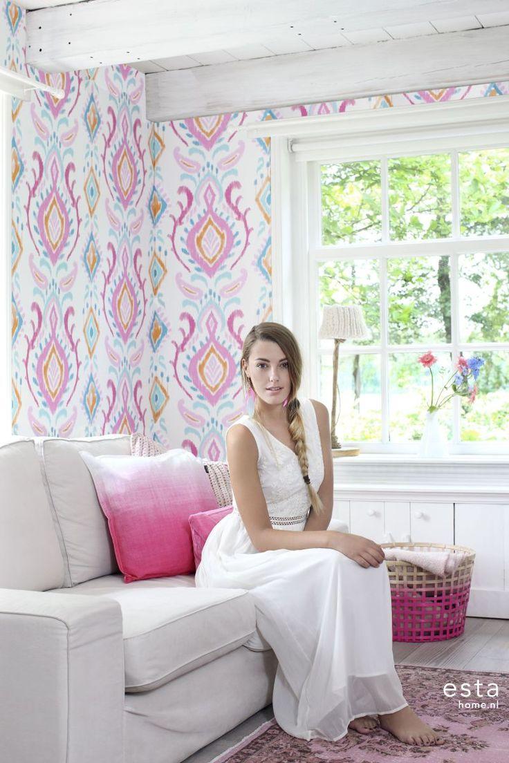 wallpaper Damask Pink, Orange & Blue Cabana 148645 #behang #Tapete #papier peint #wallpaper #papel pintado #papel tapiz #carta da parati #barok #roze,oranjeenblauw #Damask #Pink,Orange&Blue #Barock #Rosa,Orange&Blau #Damask #Rose,Orangeetbleu. #damasco #rosa,arancioneeblu #damascos #rosa,naranjayazul #ESTAhome.nl  #Everybody Bonjour#woonkamer #Wohnzimmer #sala #salon #soggiorno #living room #slaapkamer #Schlafzimmer #domitorio #chambre à coucher #Camera da letto #bedroom #meisjeskamer