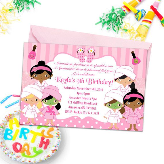 Spa Party Invitations Girls Party Invites Kids by PrintYourInvite #spa #spainvitations #partyinvitations #kidspartyinvites #birthdayparty #kidspartyinvitations #kidspartyprintables #spabirthdayparty #kidsbirthdayparty #invitations