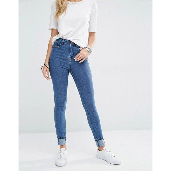 Noisy May Lexi High Rise Skinny Jeans ($38) ❤ liked on Polyvore featuring jeans, blue, super skinny jeans, blue jeans, high waisted jeans, skinny fit jeans and light wash jeans