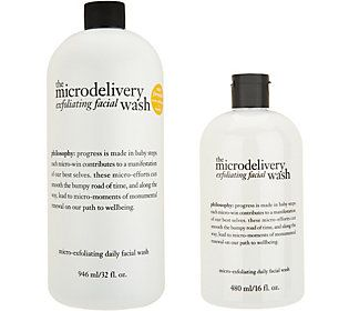 philosophy microdelivery exfoliating wash home and away duo
