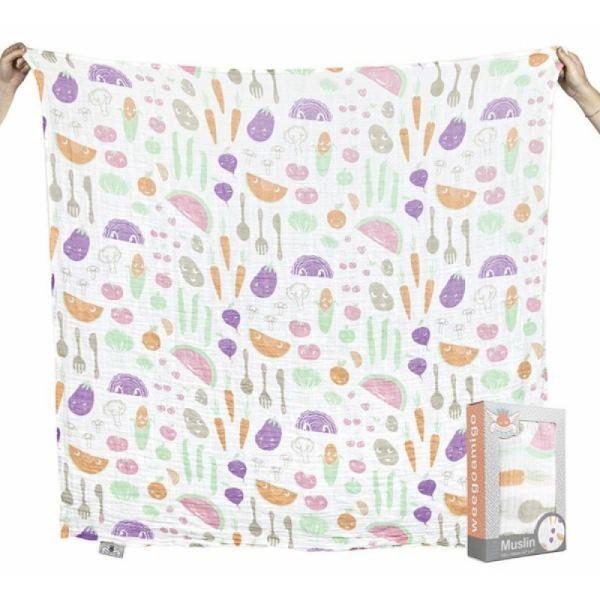 Weegoamigo printed baby muslin wrap - Veg Out from Milk Tooth #easter #eastergifts #eastergiftideas