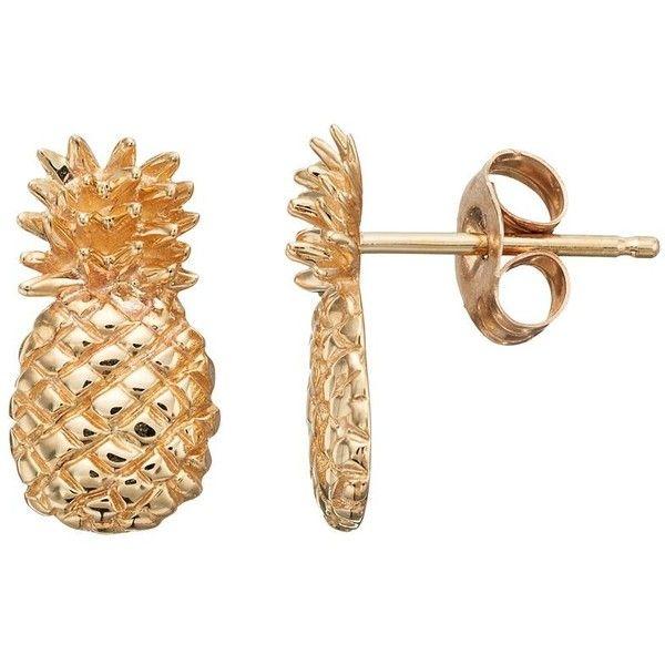 10k Gold Pineapple Stud Earrings ($120) ❤ liked on Polyvore featuring jewelry, earrings, gold, pineapple stud earrings, gold jewellery, pineapple earrings, earring jewelry and pineapple jewelry