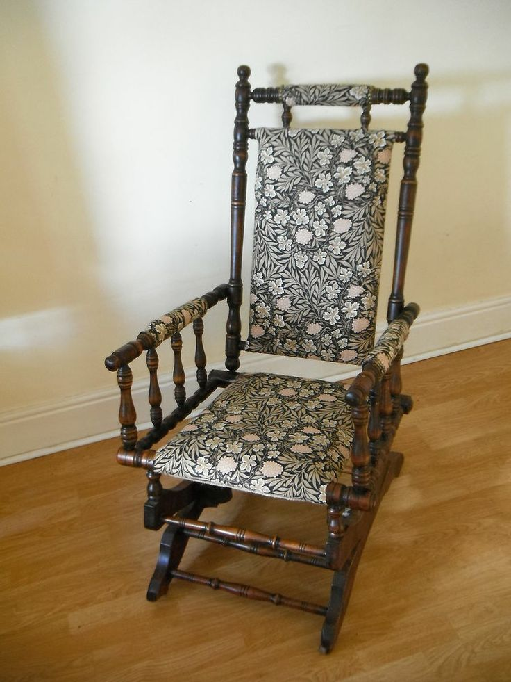 ANTIQUE ROCKING CHAIR c1860-80 WILLIAM MORRIS VINE UPHOLSTERY ANTIQUE  FURNITURE - 87 Best Rocking Chairs Images On Pinterest Rocking Chairs