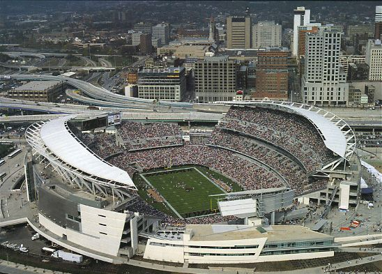 Riverfront Stadium, Cincinnati, OH.  It was hard to find a photo since the stadium has now been replaced by the Paul Brown Stadium.  (Bengals vs. Steelers)