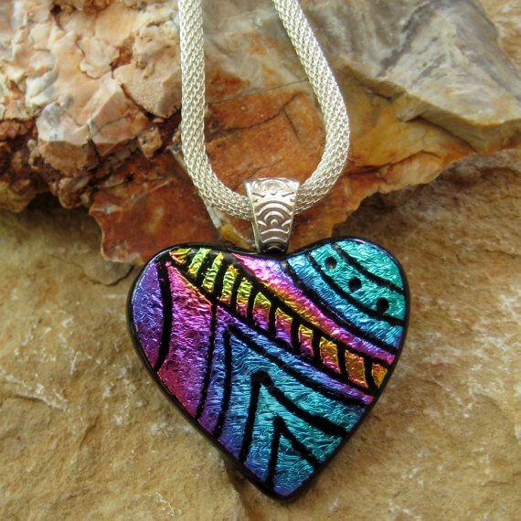 Dichroic Fused Glass Hand Etched  Pendant Fused Glass by GlassCat, $35.00: Fused Glass, Glasses, Dichroic Fused, Glasscat 35 00, Etched Pendant