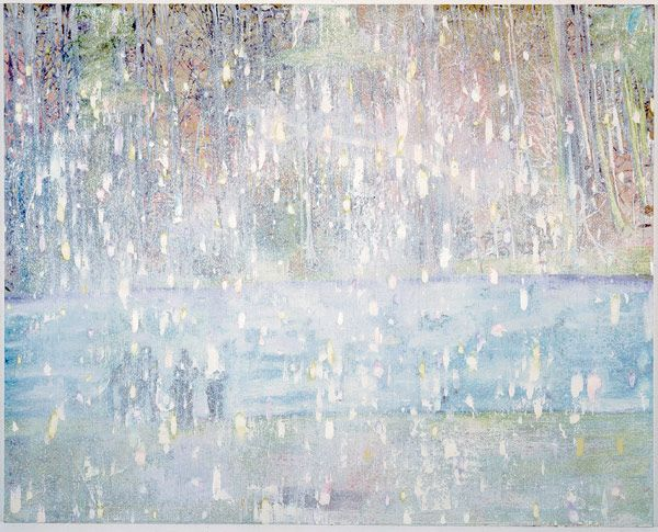 Cobourg 3+1 more, 1994 by Peter Doig. Magic Realism. landscape