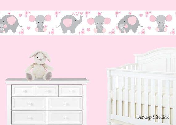 Pink Grey Elephant Nursery Baby Girl Wallpaper Border Wall Etsy Baby Girl Nursery Wallpaper Baby Girl Wallpaper Nursery Wallpaper Border