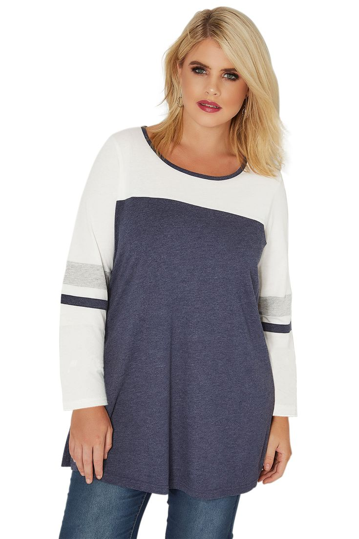 Color Block Navy White Long Sleeve Plus Size Top 9