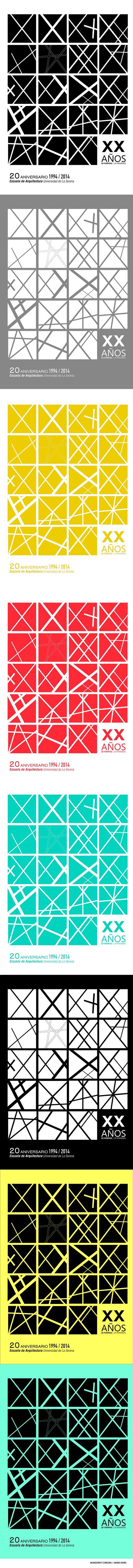 prueba de colores de #afiche ganador 20 años, Escuela de Arquitectura Universidad de La Serena #Graphic #poster Mario Neira + Monserrat Cordero 2014
