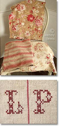 French country fabric: antique French ticking, hand block printed cottons & monogrammed linen