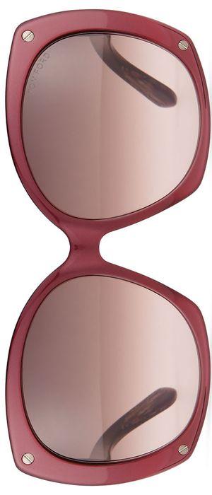 TOM FORD Gabriella Oversized Square Sunglasses, Burgundy/Brown