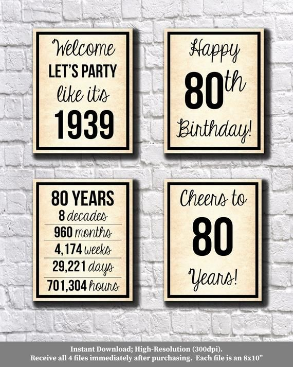 80th Birthday Old Paper 1939 Signs 80th Birthday Digital Posters