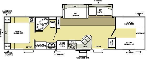 Open Road Fifth Wheel Floor Plans: Wildwood LE 36BHSS Bunkhouse Travel Trailer A Garden Tub