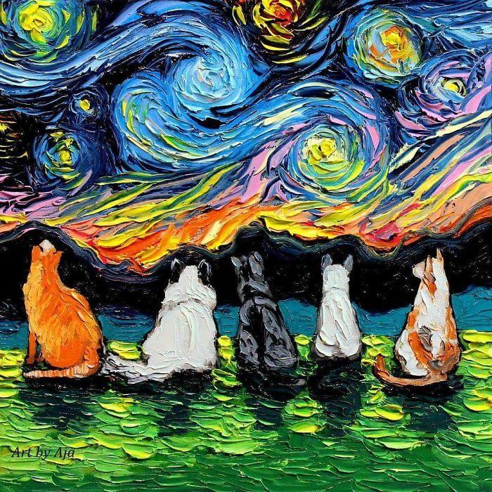 Orange Tabby Cat Starry Night Wall Art Print Van Gogh Poster Decor by Aja