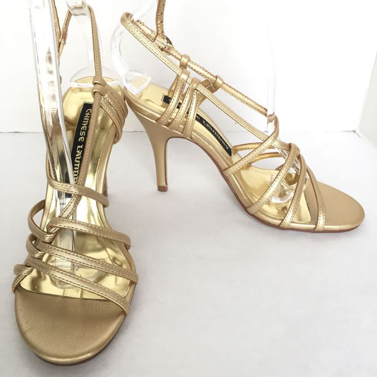 Chinese Laundry Women's Metallic Gold Strappy High Heel Sandals Size US 6 M #ChineseLaundry #Strappy #Formal