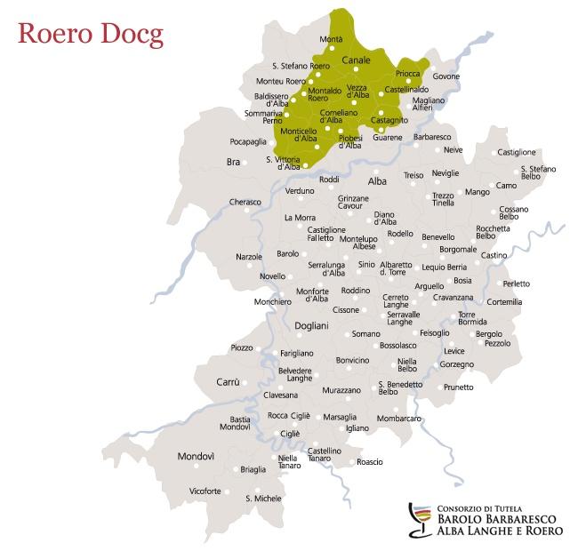 Roero Docg, the map of vineyards