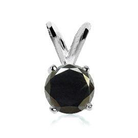 #6010 Sterling Silver 1 Carat Black Diamond Pendant