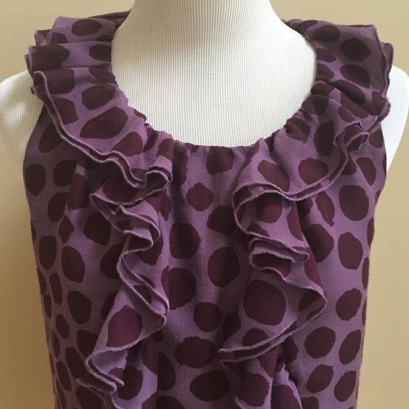 """Top ⭐️Purple polka dot top with ruffles⭐️In good condition with some light piling (see pic #3 for example)⭐️Approximate measurements lying flat are: Length 23"""" & Waist 15""""⭐️Shell & Lining 100% Polyester⭐️Machine Washable⭐️No TradesNo PayPal LOFT Tops Blouses"""