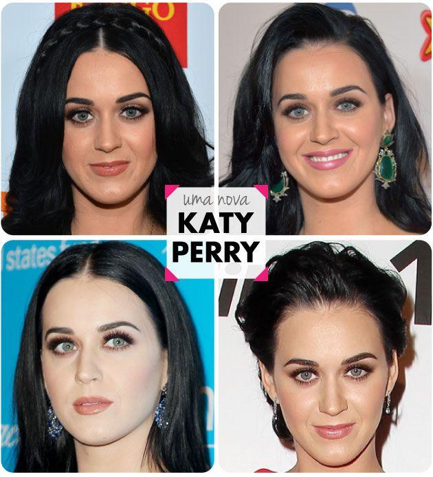 Katy Perry, Transformação, Cabelo preto, morena, make natural, clássica, nude, cilios postiços, sobrancelha marcada, mudança, unhas